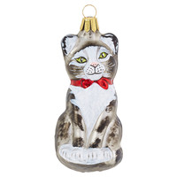 "4"" Glass Cat Ornament, Ornaments"