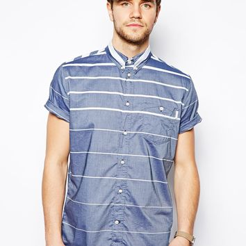 Paul Smith Jeans Shirt with Horizontal Stripe - Standard Fit - blue