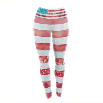 "Beth Engel ""Red White and Glitter"" Flag Yoga Leggings"
