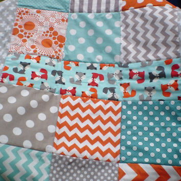 Baby quilt,fox baby quilt,baby boy bedding,baby girl quilt,rustic,woodland,crib,mini,fox,orange,grey,teal,aqua,chevron,newborn-Foxy Mini