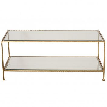 Worlds Away Taylor Hammered Metal Rectangular Gold Leaf Coffee Table