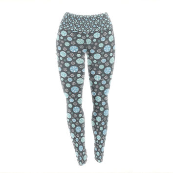 "Julie Hamilton ""Midnight Snow"" Winter Yoga Leggings"