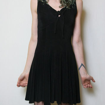 90s Black Babydoll Grunge Goth Slinky Mini Dress // LBD // Little Black Dress // 90s Dress // Goth Dress // Grunge Dress