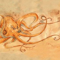An Octopus Drinking Tea 8x10 print by Pseudooctopus on Etsy