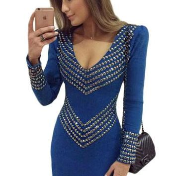 Royal Blue Studded Long Sleeve Mini Dress