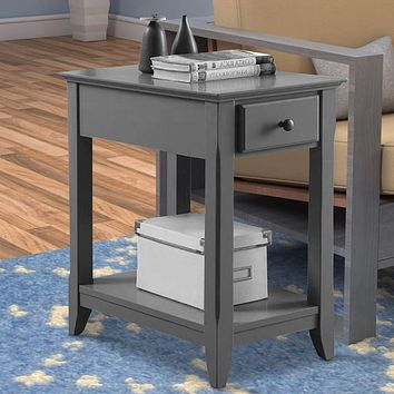 1 Drawer Wooden Side Table with Bottom Shelf, Gray By ACME