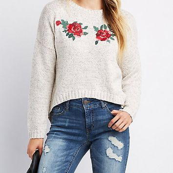 Embroidered High-Low Pullover Sweater | Charlotte Russe