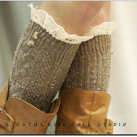 Brown Nordic Lace Boot Sock -Something really special for your tall boots -Pretty tweed cable knit long knee socks w/ 2 buttons, cotton lace