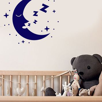 Vinyl Wall Decal Cartoon Crescent Sleeping Moon Face Stars Nursery Room Stickers (2819ig)