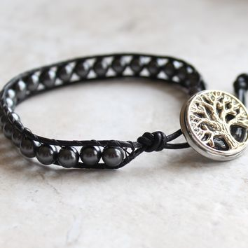 Black and gray tree of life bracelet