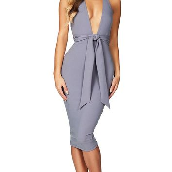 You're My Person Grey Sleeveless Backless Plunge V Neck Halter Tie Waist Bodycon Bandage Midi Dress