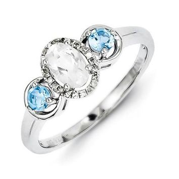 Sterling Silver White Topaz, Sky Blue Topaz & Diamond Halo Ring
