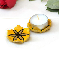Candle Holders - set of 2 yellow flower tea light holders, shower favor, ceramic home decor, tea bag holder, Passover gift