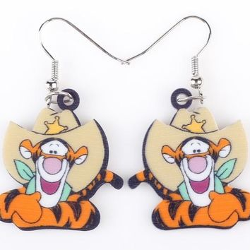 Long Drop Brand Lovely Tiger Earrings Acrylic New Jewelry Girls Women Cartoon Children Tigger Earrings Accessories
