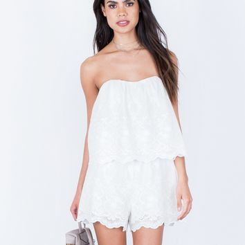 Strapless Embroidered Romper