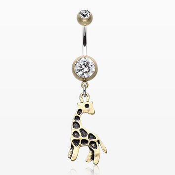 Vintage Boho Giraffe Belly Button Ring