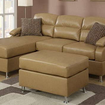 A.M.B. Furniture & Design :: Living room furniture :: Sofas and Sets :: Leather sectionals :: 3 pc Sheila II modern style reversible Tan bonded leather upholstered sectional sofa with chaise and ottoman