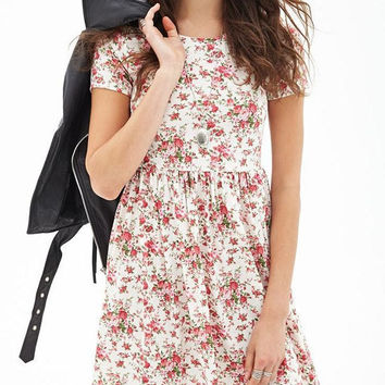 Floral Pleated Casual Mini Skater Dress