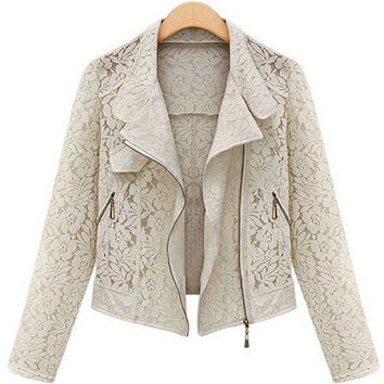Floral Pattern Turn-Down Collar Long Sleeve Lace Jacket