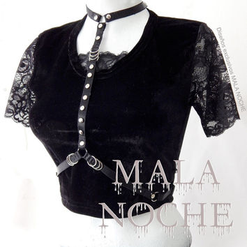 lace crop top, velvet crop top, velvet shirt, harness choker