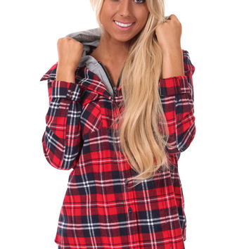 cb436190e2d2 Red and Navy Plaid Flannel Jacket from Lime Lush Boutique