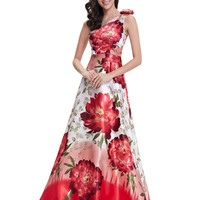 Evening Gown Dresses Ever Pretty HE09623  One Shoulder Purple Floral Printed Flower Satin
