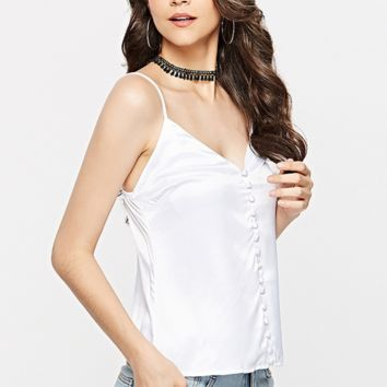 Hot style ladies wear a sleeveless stretch silk blouse with straps over the v-neck