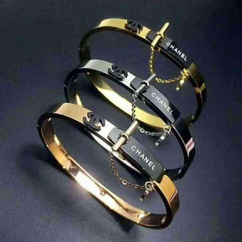 Chanel Woman Fashion Plated Bracelet Jewelry