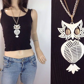 70s Owl Necklace Alan Owl Necklace White Owl Necklace Owl Pendant Articulated Owl Pendent  Big Owl Necklace
