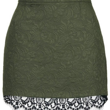 Textured Lace Hem Pelmet Skirt - Khaki