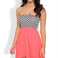 High Low Dress with Chevron Bodice