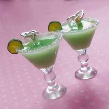 Miniature Margarita Drink Hook Earrings, Resin, Food Jewelry