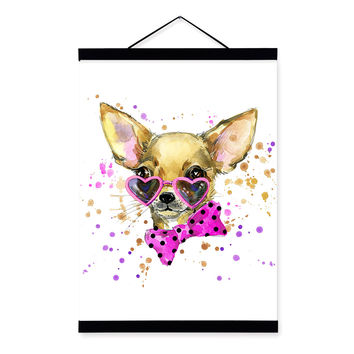 Dog Watercolor Fashion Animal Portrait Pink Wooden Framed Canvas Painting Wall Art Print Picture Poster Children Room Home Decor