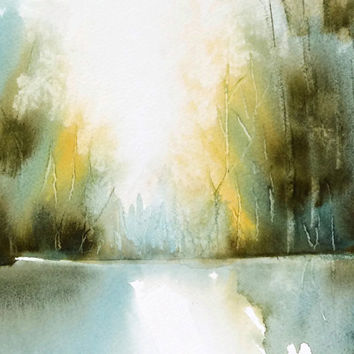 Watercolor Landscape Painting, Abstract Wall Decor,Watercolor Print,Watercolor Painting,Nature Art Print,Forest Art,11x14 Print,8x10 Print +