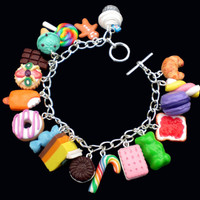 Multi-Coloured Loaded Kawaii Food Charm Bracelet