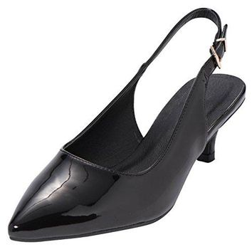 Cambridge Select Womens Closed Pointed Toe Buckled Slingback Kitten Heel Pump