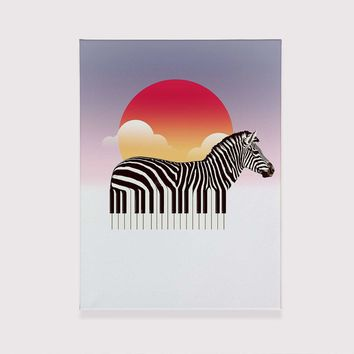 Zeyboard Canvas Print, Cool Animal Wall Art, Cute Zebra Printed Canvas For Home Decor