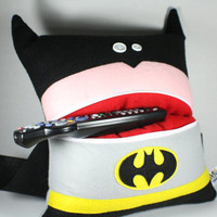 Plush Batman Pillow with a White Zipper Pocket Mouth and Button Eyes