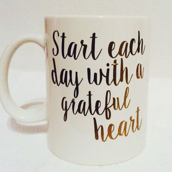 Grateful Heart Quote Coffee Mug