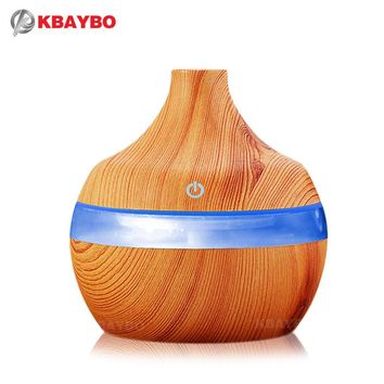 USB Aroma Humidifier Aromatherapy Wood Grain 7 Color LED Lights Electric Aromatherapy Essential Oil Aroma Diffuser 300ml humidif