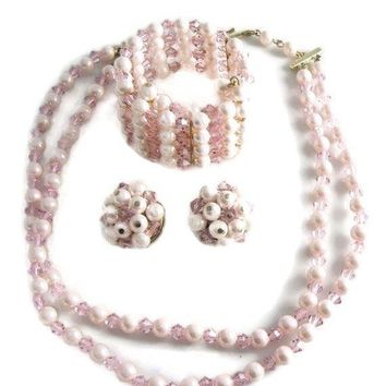Laguna Pink Faux Pearl And Crystal Necklace, Bracelet And Earring Set