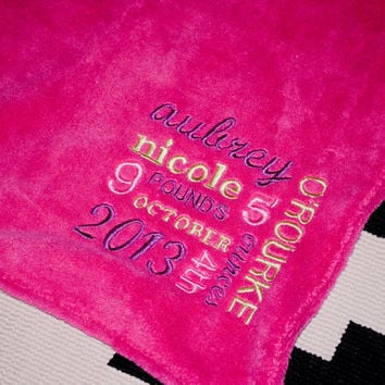 SMALL(35x29) Personalized Embroidered Birth Announcement Baby Blanket Throw in Cuddly Ultra Soft Minky Fabric with name, date, time & weight