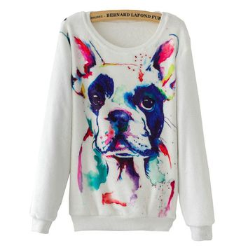 Long Sleeve Shirts - French Bulldog Dog Watercolor Paint Women's Sweatshirts