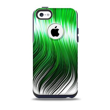 The Green Vector Swirly HD Strands Skin for the iPhone 5c OtterBox Commuter Case