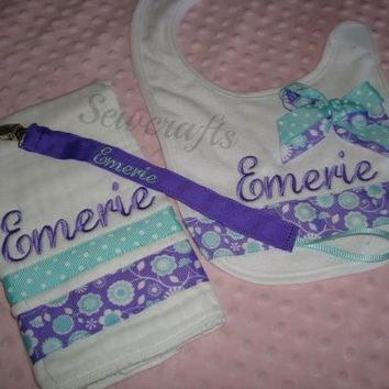 Emerie Personalized Burp Cloth and Bib Premium Quality 6-Ply Burp Cloth and Bib - Choice of Name and/or up to 3 Monograms
