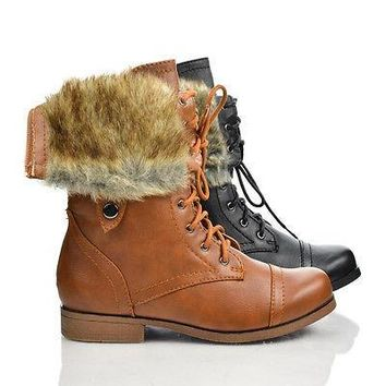 Freda45E Tan Pu By Bumper, Round Toe Lace Up Faux Fur Lining Fold Over Cuff Military Boots