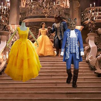 Beauty And The Beast Princess Belle Prince Adam Adult Cosplay Costume New 2017 Movie Halloween Costume For Men And Women