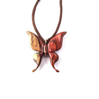 Wood Jewelry, Wood Pendant Necklace, Butterfly Necklace, Wooden Butterfly Pendant, Hand Carved Pendant, Wooden Jewelry, Wood Carved Pendant