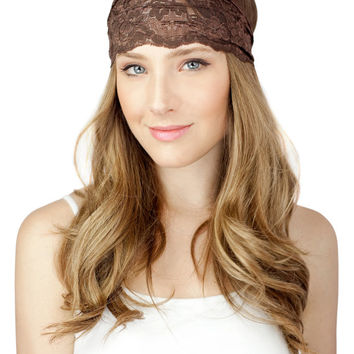 BROWN brown, lace headband, urban turban, headwrap, gym, wide lace band, taupe lace