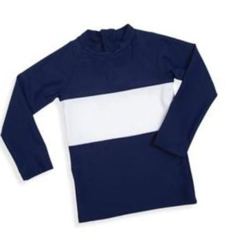 Navy and White Rash Guard